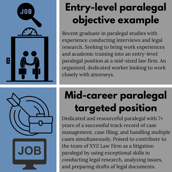 Paralegal resume objective example